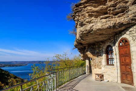 Galician Cave St. Nicholas Monastery located on a bank of the Dniester river in Halytsya village, Chernivtsi region, Ukraine Zdjęcie Seryjne