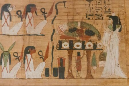 Close-up of the ancient egyptian papyrus