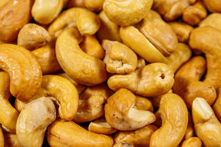 Background of roasted cashew nuts 免版税图像