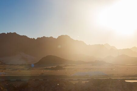 View of Arabian desert and mountain range Red Sea Hills in Egypt Stock Photo