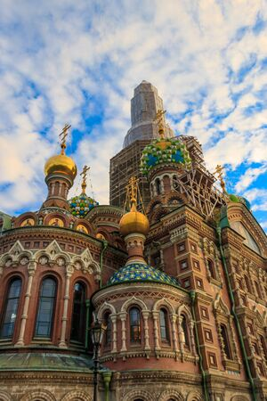 Church of the Savior on Spilled Blood or Cathedral of the Resurrection of Christ is one of the main sights of Saint Petersburg, Russia Banco de Imagens