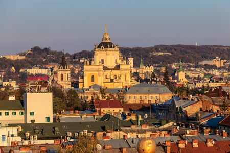 Aerial view of St. Georges Cathedral and old town of Lviv in Ukraine. Lvov cityscape. View from bell tower of Church of Sts. Olha and Elizabeth