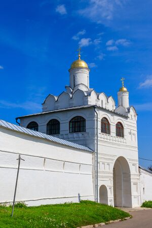 Annunciation gate church of Intercession (Pokrovsky) convent in Suzdal, Russia. Golden ring of Russia