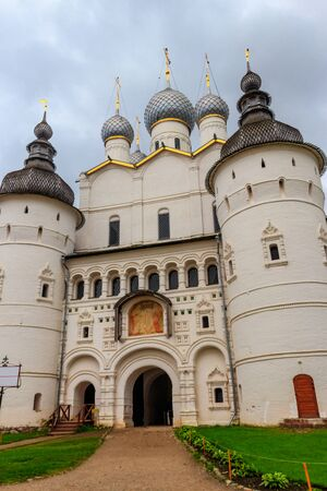 Gate Church of the Resurrection of Christ in Rostov kremlin, Russia. Golden ring of Russia