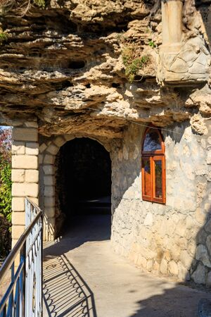 Galician Cave St. Nicholas Monastery located on a bank of the Dniester river in Halytsya village, Chernivtsi region, Ukraine Stockfoto