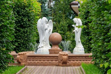 Angel fountain in Holy Trinity-Saint Seraphim-Diveyevo Monastery in Diveyevo, Russia 스톡 콘텐츠