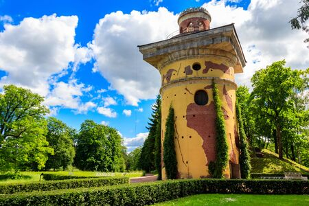 Tower-ruin in Catherine park at Tsarskoye Selo in Pushkin, Russia 写真素材 - 134842363