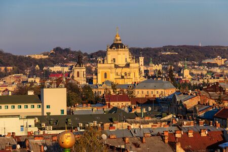 Aerial view of St. George's Cathedral and old town of Lviv in Ukraine. Lvov cityscape. View from bell tower of Church of Sts. Olha and Elizabeth