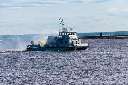 Extinguishing a burning ship during naval exercises