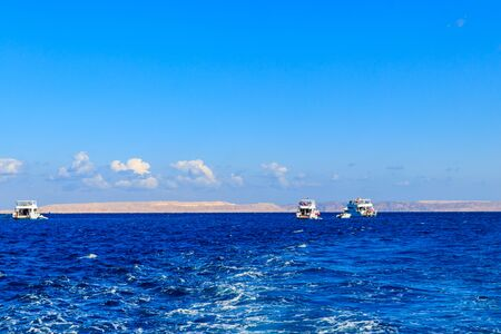 View of Red sea and white yachts on horizon near Hurghada, Egypt Reklamní fotografie
