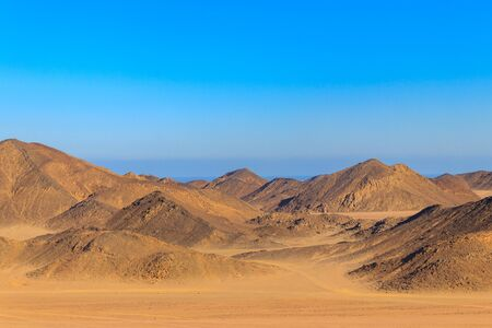 View of Arabian desert and mountain range Red Sea Hills in Egypt 写真素材 - 134931682