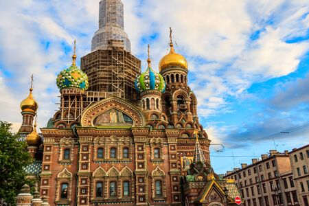 Church of Savior on Spilled Blood or Cathedral of Resurrection of Christ is one of main sights of Saint Petersburg, Russia. Central dome of Church of the Savior on Spilled Blood under reconstruction Reklamní fotografie