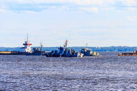 Warships of a navy of Russia in a bay of Kronstadt Zdjęcie Seryjne
