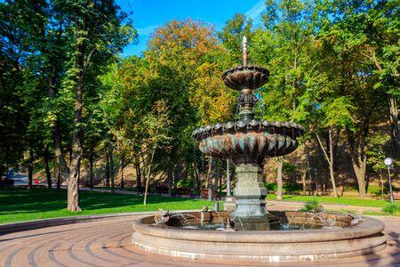Fountain in a city park Vladimir Hill in Kiev, Ukraine