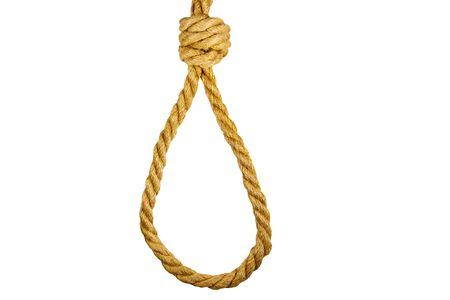 Deadly loop of rope isolated on white background. Concept of death penalty or suicide