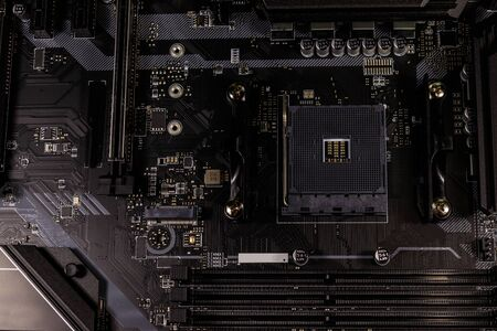 Close-up of a modern computer motherboard. Electronic computer hardware technology 写真素材