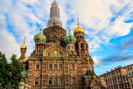 Church of Savior on Spilled Blood or Cathedral of Resurrection of Christ is one of main sights of Saint Petersburg, Russia. Central dome of Church of the Savior on Spilled Blood under reconstruction