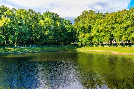 View of Karpiev pond in city park Summer Garden in St. Petersburg, Russia