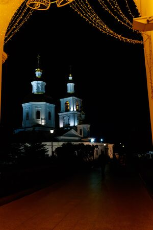 Kazan church of Holy Trinity-Saint Seraphim-Diveyevo convent at night in Diveyevo, Russia