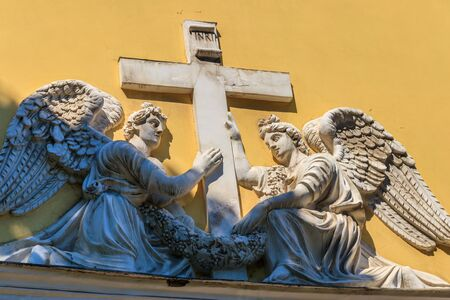Bas-relief with angels on a wall of the Transfiguration Cathedral in St. Petersburg, Russia Reklamní fotografie