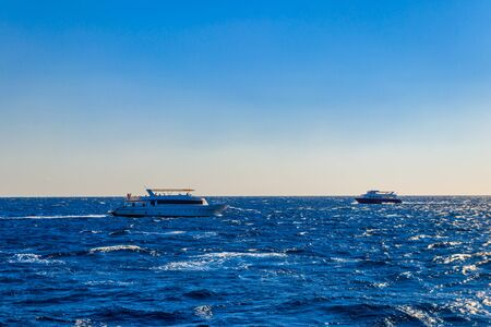 White yachts sailing in Red sea, Egypt 写真素材