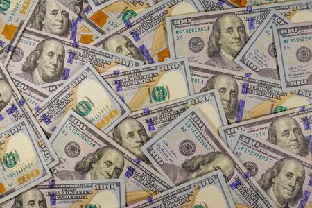 Background of american one hundred dollar bills