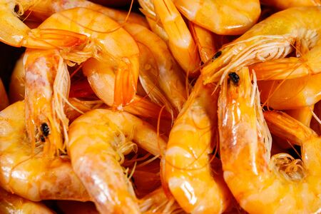 Close-up of fresh raw shrimps. Food background