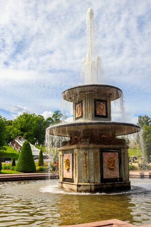 Roman fountain in lower park of Peterhof