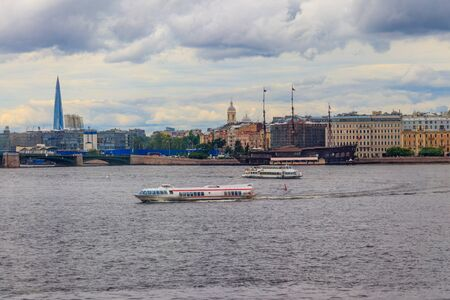Hydrofoil boat sailing on the Neva river in St. Petersburg, Russia