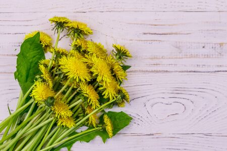 Yellow dandelion flowers on white wooden background. Top view Banco de Imagens - 140803750