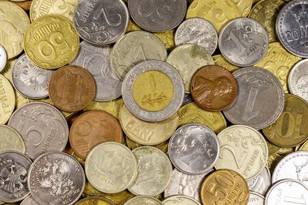 Background of various coins from different countries Banco de Imagens