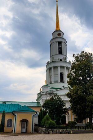 Bell tower of Nativity of Our Lady Monastery in Zadonsk, Russia Banco de Imagens - 140803823