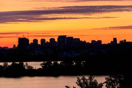 Sunset over the Dnieper river in Kiev, Ukraine
