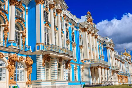Catherine Palace is a Rococo palace located in the town of Tsarskoye Selo (Pushkin), 30 km south of Saint Petersburg, Russia. It was the summer residence of the Russian tsars