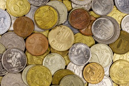 Background of various coins from different countries