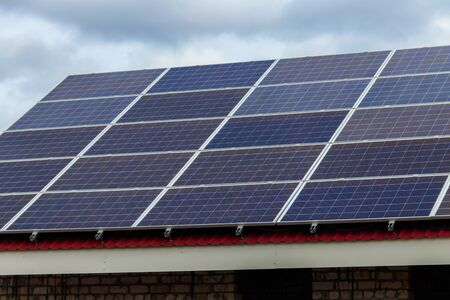 Close-up of solar panels. Photovoltaic modules for innovation alternative energy Archivio Fotografico