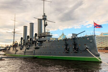 Old revolutionary Aurora cruiser,  the symbol of the October revolution, currently preserved as a museum ship on the Neva river in Saint Petersburg, Russia
