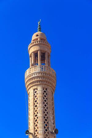 Minaret of mosque in Dahar neighborhood (old town of Hurghada) in Egypt