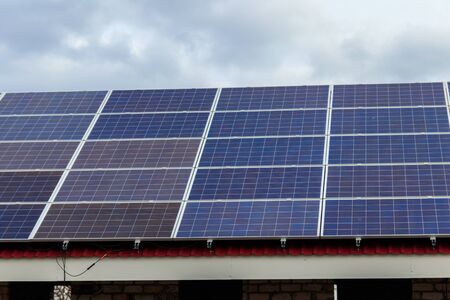 Close-up of solar panels. Photovoltaic modules for innovation alternative energy