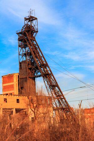 Old rusty mine headgear in Kryvyi Rih, Ukraine