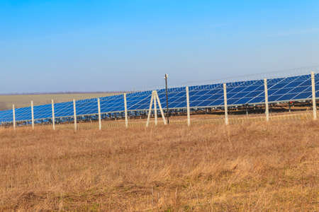 Rows of solar panels in solar power plant. Photovoltaic modules for innovation alternative energy