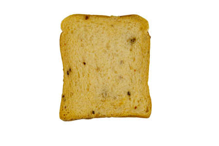 Slice of olive bread with spices isolated on white background