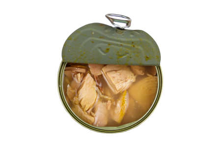 Open tin can of tuna fish isolated on white background