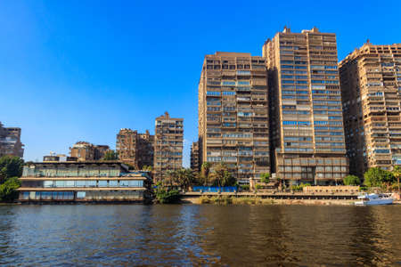 View of the Cairo city and Nile river in Egypt Standard-Bild