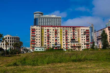 Batumi, Adjara, Georgia - May 3, 2018: Street with beautiful modern buildings in Batumi, Georgia Editorial