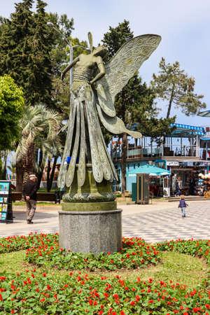 Batumi, Adjara, Georgia - May 3, 2018: Statue of fairy on Batumi boulevard in Georgia