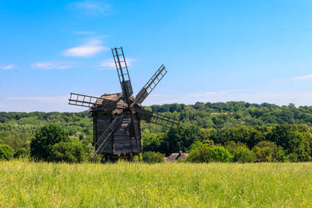 Old wooden windmill in Pyrohiv (Pirogovo) village near Kiev, Ukraine 写真素材