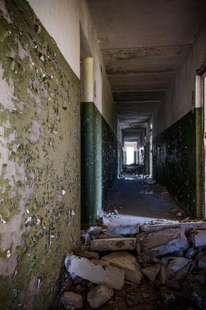 Long corridor of ruined abandoned house