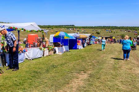 Dnipropetrovsk region, Ukraine - June 2, 2018: Unknown people during outdoor free ethno-rock festival Kozak Fest