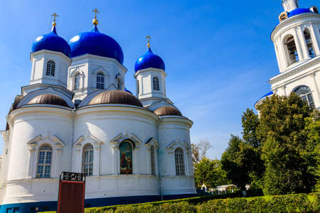 Bell tower and Cathedral of the Bogolyubovo icon of Our Lady in Bogolyubovo convent in Vladimir oblast, Russia